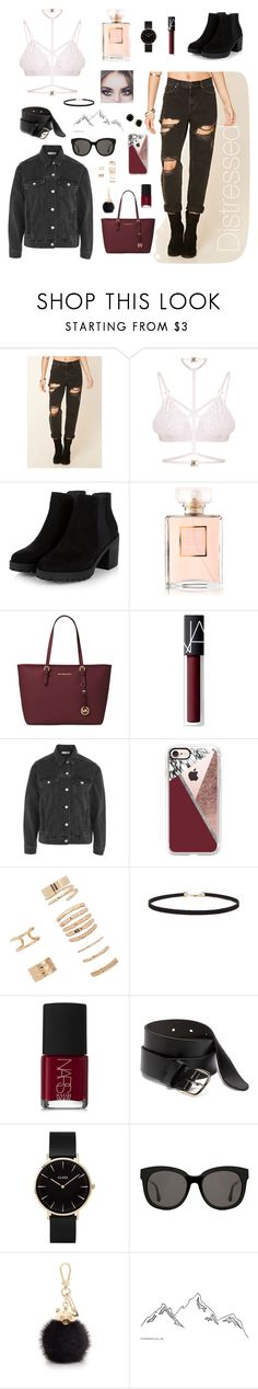 """Distressed"" by molldollc ❤ liked on Polyvore featuring Forever 21, Kamilla White, Chanel, Michael Kors, NARS Cosmetics, Topshop, Casetify, Old Navy, CLUSE and Gentle Monster"