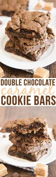 These delicious double chocolate caramel cookie bars have two layers of chocolate cookie filled with a gooey caramel layer in the middle. #BestOfBaking #ad