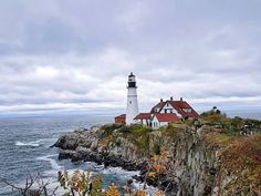 Busy few days in with lots of wet weather. Still America's most photographed lighthouse - Portland Head Lighthouse - is as postcard perfect as ever. Let Your Light Shine, Wet Weather, Lighthouses, Portland, Buildings, America, Business, Water, Day