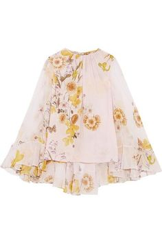 Giambattista Valli - Cape-back Ruffled Printed Silk-chiffon Blouse - Blush - IT40