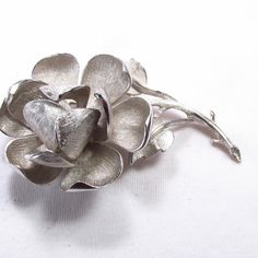 Vintage 1960's single silver riveted layered flower by jewelry715, $12.00