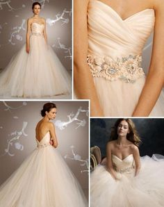 I am IN LOVE with this Lazaro Dress. Views of blush, jewels and tulle