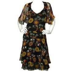 CHANEL Brown Silk Dress