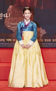 """A beautiful turquoise, bright yellow Hanbok (traditional Korean dress) worn by actress Kim Soo-yeon, one of the cast in """"Flower of Prison.""""   The upcoming MBC's historical drama, """"Flower of Prison"""" <""""옥중화""""><Ok Joong Hwa>  On Air: Saturday 4/30/16 (10:00pm Korea Time). Premieres every Saturday/Sunday night @10:00pm.   For More Details: http://content.mbc.co.kr/program/drama/2798050_64285.html Teaser: https://www.youtube.com/watch?v=_r0cPd0aQjU"""