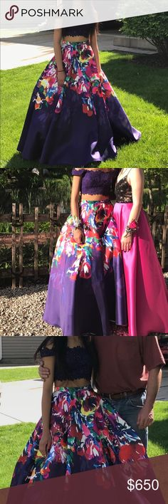Prom Dress I'm 5'7 the dress length was 2.5 inches past my feet without shoes. I only wore it once & it's a size 4. The dress is a two piece and mainly purple with a floral print. The skirt also has pockets. Designed by Ellie Wild. Price is negotiable. I had the dress hemmed & they charged 70-100 for each layer. Dresses Prom