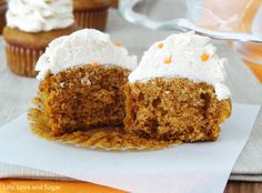 Pumpkin Cupcakes with Maple Cinnamon Cream Cheese Icing