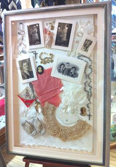 A true custom framed treasure and heirloom - classic family photos, gloves, a rosary, WWII era silk stockings and more, all hand stitched on a vintage pillowcase, framed in Larson-Juhl Sorrento... Spectacular!