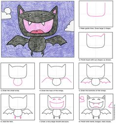 Draw a cartoon vampire bat
