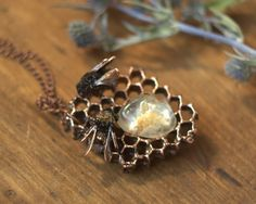 Natural honeycomb,citrine and 2 bumblebee covered with copper, electroforming, real insect, bee jewelry, OOAK pendant, copper-plated nature