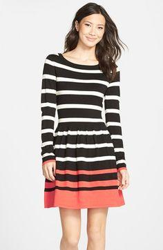 Eliza J Stripe Fit & Flare Sweater Dress