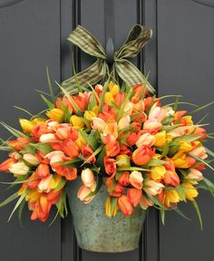 Spring Tulips - Bucket of Spring Tulips - Front Door Wreath on Etsy, $115.00