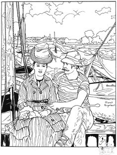 Argenteuil, by Manet: This site makes you sit through a short ad before loading the coloring page.