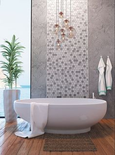 [New] The 10 Best Home Decor (with Pictures) - Here is a great way to modernize your bathroom a bit with out doing too much. Come by one of our 4 locations to ask about to build your custom mosaic and choose the colors that would make your bathroom pop! Tile Accent Wall, Bathroom Accent Wall, Bathroom Accents, Master Bathroom, Wall Tile, Hexagon Tile Bathroom, Hexagon Mosaic Tile, Glass Mosaic Tiles, Glass Tile Bathroom