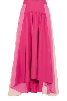 Peter Pilotto - Asymmetric Color-block Cotton-poplin Midi Skirt - Fuchsia