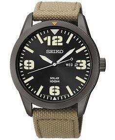 Seiko Men's Solar Beige Nylon Strap Watch 43mm SNE331