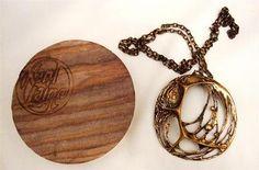 karl laine, 1970's bronze pendant necklace & original wood box