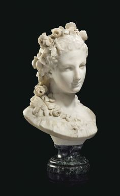 JEAN-BAPTISTE CARPEAUX (FRENCH, 1827-1875) Bust of a young maiden signed and dated JB Carpeaux 1872 (to the reverse), on vert maurin marble base marble 21 ½ in. (54.5 cm.) high