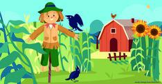 Scarecrow on a farm illustration by Jasmijn Solange Evans Illustration Make A Scarecrow, Education, Evans, Cute, Kids, Illustrations, Design, Young Children, Boys