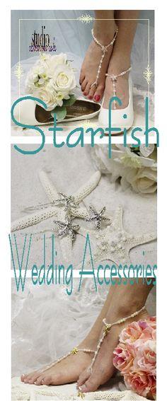 Starfish beach wedding ideas and jewelry Barefoot sandals, hair pins, shoe jewelry Catherine Cole Studio #beachwedding #starfish