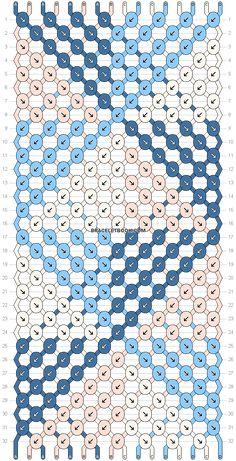 Normal friendship bracelet pattern variation added by dagger arrows diagonal colorblock chevron fan. String Bracelet Patterns, Diy Bracelets Patterns, Diy Bracelets Easy, Embroidery Bracelets, Summer Bracelets, Bracelet Crafts, Cute Bracelets, Bracelet Designs, Braided Bracelets