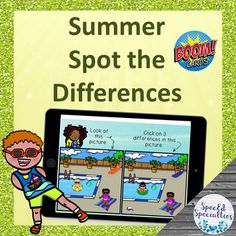 Summer Spot the Differences Visual Perception BOOM Cards™ for Distance Learning Touch And Feel Book, Self Advocacy, Ell Students, Kindergarten Class, Vocabulary Activities, Special Education Classroom, Play Online, Deck Of Cards, Task Cards