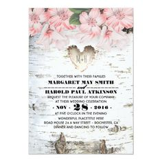 Shop Birch Tree Bark Heart Rustic Country Wedding Invitation created by jinaiji. Country Wedding Invitations, Rustic Invitations, Invites, Tree Trunk Drawing, Design Your Own Invitations, Christmas Tree Wallpaper, Christmas Tree Photography, Birch Tree Wedding, Tree Bark