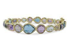 Ippolita 18K Yellow Gold Rock Candy Hero Gelato Lavender Dusk Bangle Bracelet