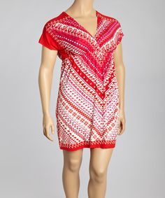 This Red & White Tribal Cape-Sleeve Dress - Plus is perfect! #zulilyfinds