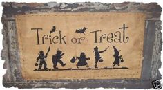 TRICK OR TREAT Primitive Handpainted Halloween Fall Autumn Witch Bats Sign Wall Hanging. $7.49, via Etsy.
