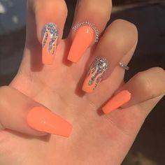 Orange Acrylic Nails, Bling Acrylic Nails, Acrylic Nails Coffin Short, Best Acrylic Nails, Orange Nails, Coffin Nails, Shellac Nails, Stiletto Nails, Coral Nails Glitter