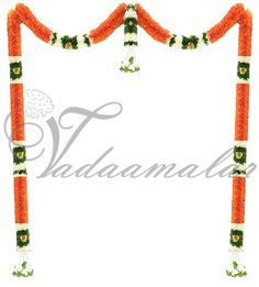 Decorative Light Orange Color Garland Door Synthetic Flowers - Washable Door Hanging Decorations, Diwali Decorations, Stage Decorations, Festival Decorations, Wedding Decorations, Artificial Garland, Artificial Flowers, Light Orange