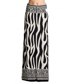 Women's Plus Size Women's Floral Aztec Print Long Maxi Knit Skirt