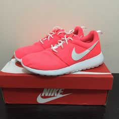 Nike Roshe Wore once . No trade . Price is firm. 6.5y = 8.5 women's . Glows in the dark . Hyper punch - color Nike Shoes