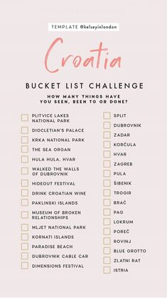 Bucket list for croatia adventure travel, travel checklist, travel list, . Travel Checklist, Travel List, Travel Goals, Travel Guides, Travel Hacks, Solo Travel, Travel Bucket Lists, Travel Essentials, Hawaii Travel