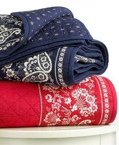 Lauren by Ralph Lauren Bedding, University Bandana Quilt Collection - Quilts & Bedspreads - Bed & Bath - Macy's Bandana Quilt, Red Cottage, Cottage Living, Cozy Cottage, Cottage Style, Western Decor, Western Rooms, Navy Color, Colour