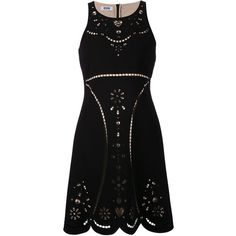 Boutique Moschino cut out dress (65.825 RUB) ❤ liked on Polyvore featuring dresses, black, scalloped dress, floral cutout dress, short cut out dresses, flower printed dress and short dresses