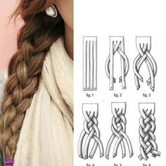 hair styles for long hair hair tutorial Love Hair, Gorgeous Hair, Beautiful, 4 Strand Braids, 4 Braids, Fancy Braids, Pretty Braids, Tail Braids, Side Braids