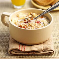 Oatmeal with dried fruits and a glass of orange juice - Ana's breakfast in Fifty Shades Freed page 377
