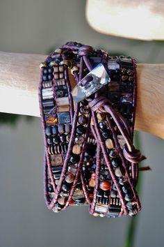 DARK ROAST  4 Wrap Burgundy Leather by BraceletsofBlueRidge