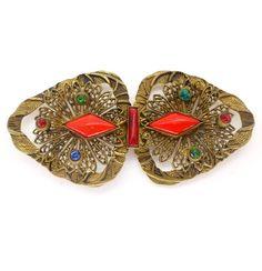 Vintage Art Deco Czech Filigree Red Glass Buckle   Clarice Jewellery   Vintage Costume Jewellery