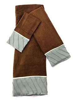 Regalia Pleated 3-Piece Decorative Bath Towel Set (Brown ...…