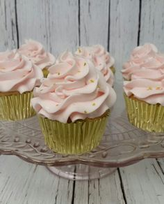 Cupcakes for a first birthday.  Pink and gold stars make them as sweet as can be.  https://m.facebook.com/BakedBlissCrosby/