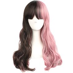 $12.99 MapofBeauty Pink And Brown Curly Wigs Cosplay Wigs