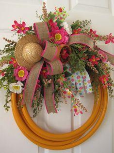 etsy, silk flowers, and spring wreath image Yellow Spring Flowers, Summer Flowers, Pink Flowers, Maria B, Wreaths For Front Door, Door Wreaths, Easter Wreaths, Christmas Wreaths, Garden Hose Wreath