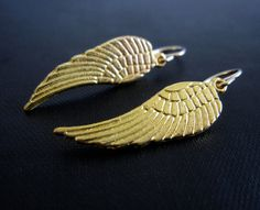 Gold Angel Wing Earrings  gold wing earrings gold by VerseJewelry, $25.00