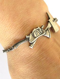 Unisex Firefighter Helmet & Axe Sterling Silver Ox Bracelet | Shared by LION