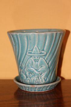 Blue Green Aqua Sitting Mexican Man w Sombrero by poshpigvintage