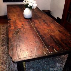 100 Year Old Reclaimed Barn Wood Harvest Table With Hand Hewn Beam Legs 7 Feet By 40 Inches 30 High West Otter Woodworks Pinterest