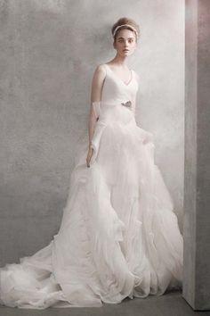 LOVE -- wedding gowns under $1000: vera wang white v-neck ballgown
