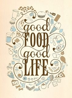 We at the Part Time Cook believe that Good Food means a Good Life. Continuing with our Food Quote series, all our passions & dreams revolve around food! Lauren Hom, Foodie Quotes, Kitchen Quotes, Kitchen Posters, Cooking Quotes, Hand Lettering, Life Is Good, Life Quotes, Lovers Quotes